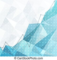 Business abstract diagram, graph and chart on blue triangle background. Investment growth. Financial strategy concept.