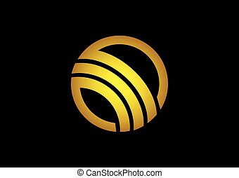 business abstract round loop gold vector logo