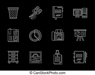 Business accessories flat line vector icons set