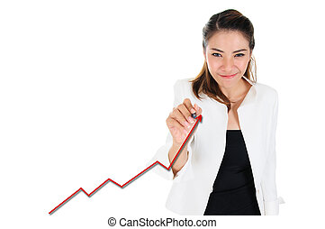 Business woman drawing increasing graph for business concept