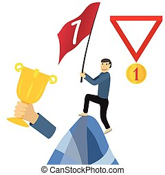 Business achieving goal, success concept vector illustrations
