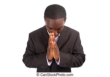 """This is an image of a business man bowing his head, as a sign of respect. This can also represent """"Prayer"""", """"Wishing"""", """"Appreciation"""" etc..."""