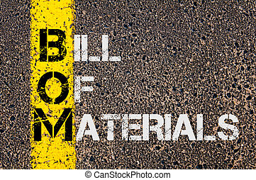 Business Acronym BOM as Bill Of Materials