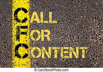 Business Acronym CFC as CALL FOR CONTENT - Concept image of...