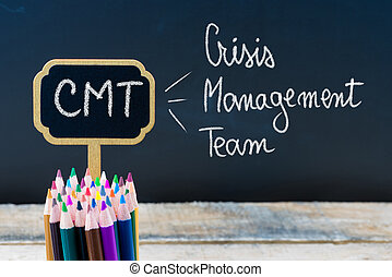 Business Acronym CMT Crisis Management Team written with chalk on wooden mini blackboard labels