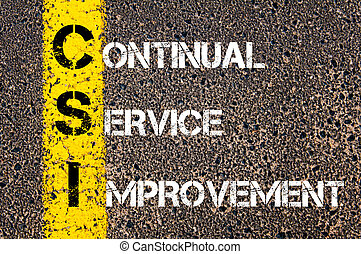 Business Acronym CSI - Continual Service Improvement. Yellow paint line on the road against asphalt background. Conceptual image