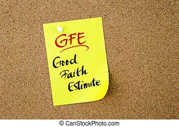 Business Acronym GFE Good Faith Estimate