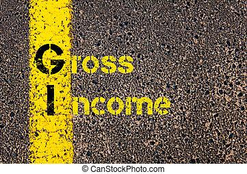 Business Acronym GI as Gross Income - Concept image of...