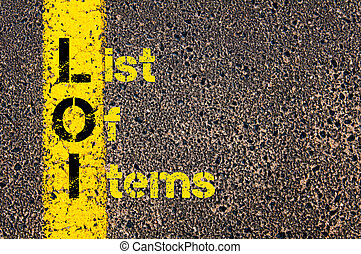 Business Acronym LOI as List Of Items