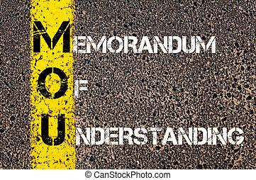 Business Acronym MOU - Memorandum Of Understanding. Yellow paint line on the road against asphalt background. Conceptual image