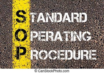 Business Acronym SOP as Standard Operating Procedure. Yellow...
