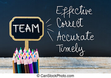 Business Acronym TEAM Effective Correct Accurate Timely written with chalk on wooden mini blackboard labels