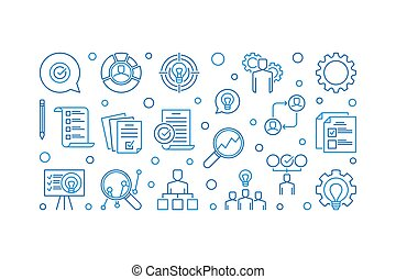 Business Action Plan creative banner. Vector line illustration