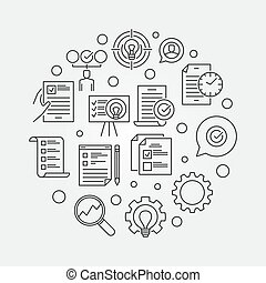 Business Action Plan vector circular outline illustration