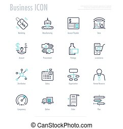 Business activity icon set. enterprise resource planning process icon. vector stock