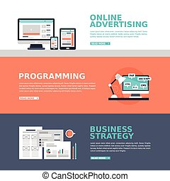 business advertising banner in flat design