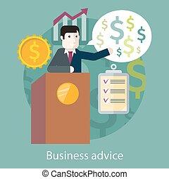 Business Advice. Cartoon Speaker on the Podium