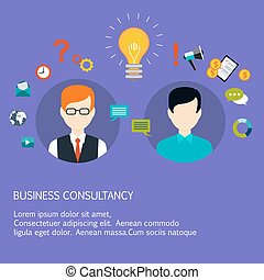 Business advice, coaching, training on business. Flat style...