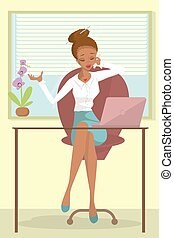 Business African woman or a clerk working at workplace. ...