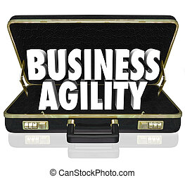 Business Agility Words Briefcase Fast Change Adaptation