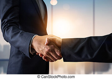 Business agreement and successful negotiation concept, businessman in suit shake hand with customer, client after formal communication and contract deal success