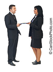 Business agreement between two people