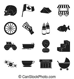 business, agriculture, plumbing and other web icon in black style. profession, sport, computer,