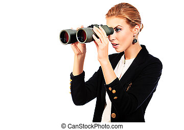 Beautiful young woman in business suit looking through binocular. Isolated over white background.