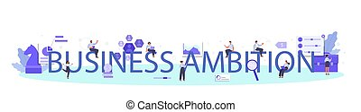 Business ambition typographic header. Employee evaluation, testing form