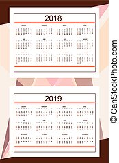 Business american calendar for wall year 2018, 2019