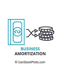 business amortization concept , outline icon, linear sign,...