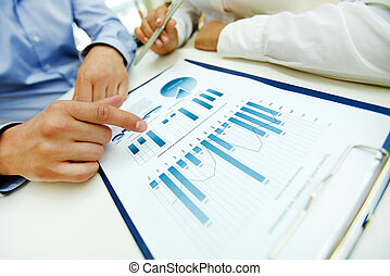 Business analysis - Close-up of graphs and charts analyzed...