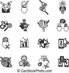 Business analysis icons set black