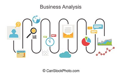Business analysis process concept illustration.