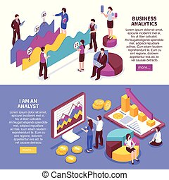 Business Analyst Banners Set - Business analyst horizontal...