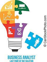 Business analyst design concept. Light bulb composed of...