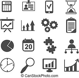 business analyst marketing icon vector set - simple color...