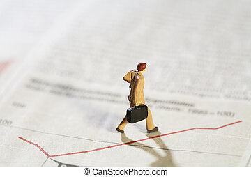 Business Analyst Troubleshooting Flatline Graph, concept with miniature model of businessman walking along a flatline graph with his briefcase.