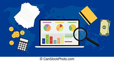 Business analyst with laptop notebook graph calculator zoom...