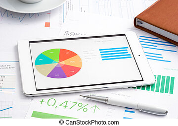 Business analytic with digital tablet