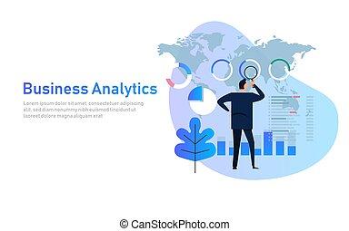 business, analytics, analyse, graphique, financier, business, diagramme, plat, vecteur, illustration., global, planisphère, données