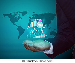 Business analytics and projections in business man hand