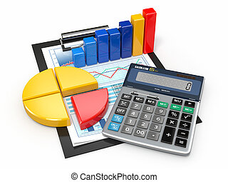 Business analytics. Calculator and financial reports. -...