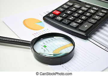 Business analytics. Calculator, financial reports