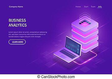 Business analytics concept. Cloud computing. Big data center. Data exchange between laptop and server. Modern hi tech vector illustration isometric style.