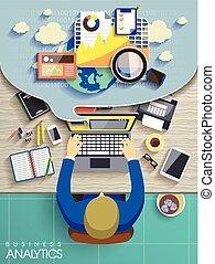 business analytics concept in flat design