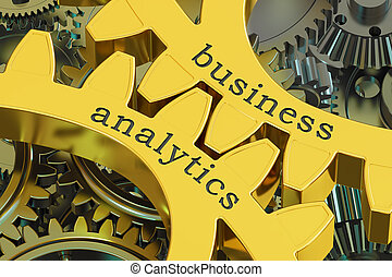 Business Analytics concept on the gearwheels, 3D rendering