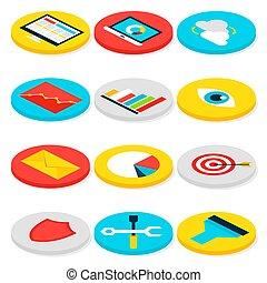 Business Analytics Isometric Icons
