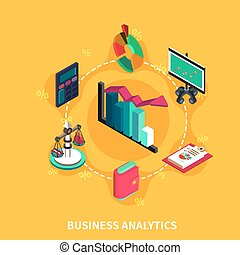 Business Analytics Isometric Round Composition