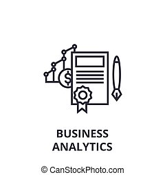 business analytics line icon, outline sign, linear symbol, vector, flat illustration